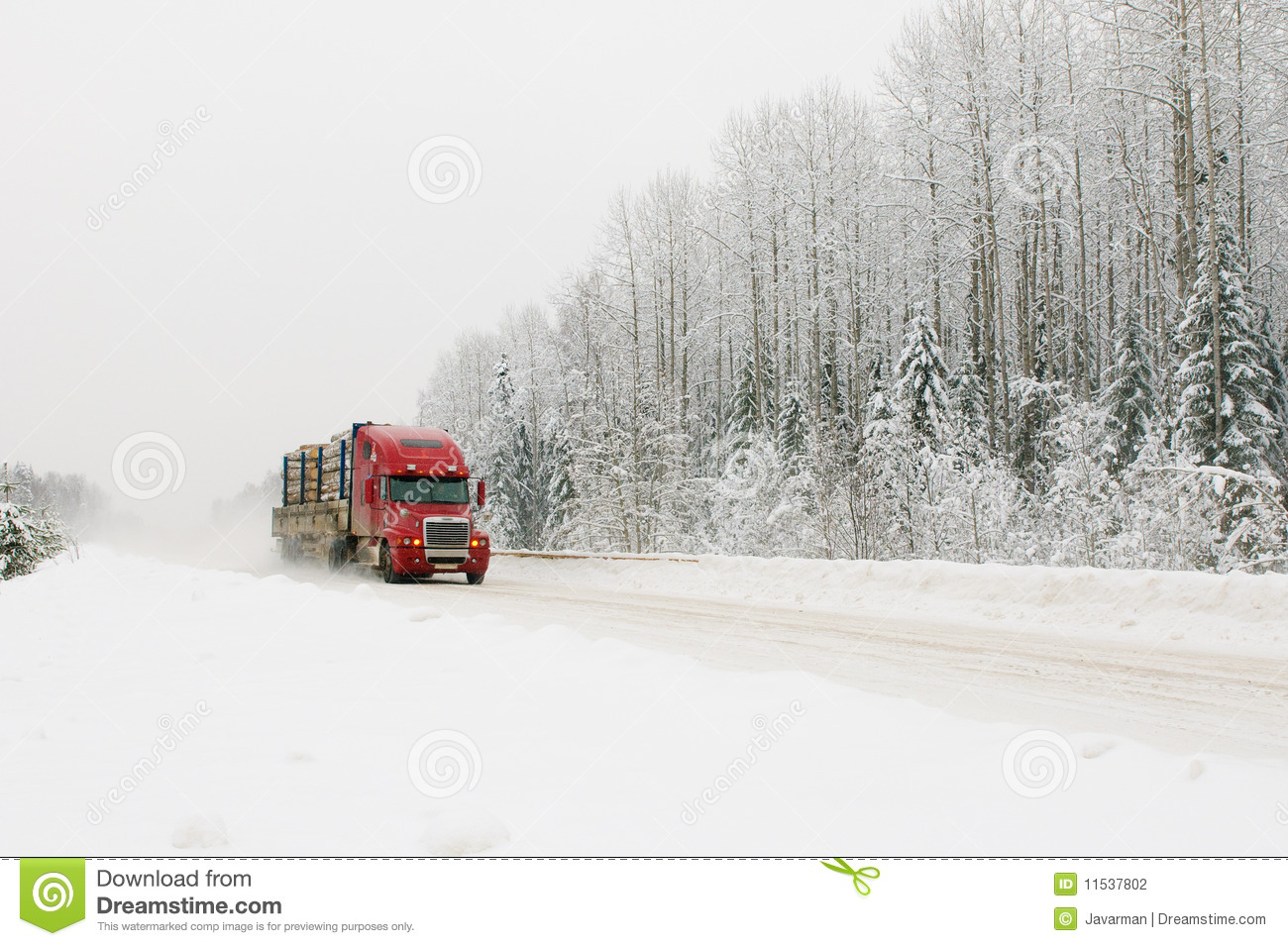 Red Truck On Winter Road Stock Photo Image Of Traffic