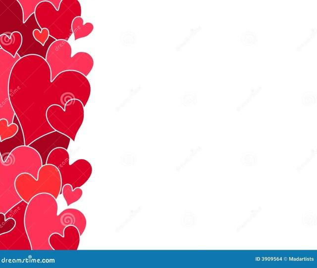 Red Valentine Hearts Side Border Stock Illustration Illustration