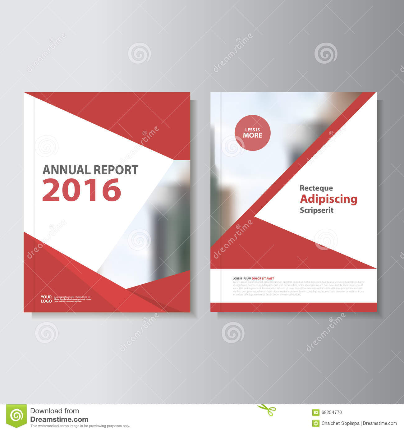 Red Vector Annual Report Leaflet Brochure Flyer Template
