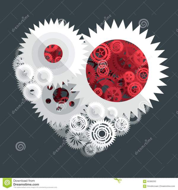 Red And White Heart Paper Cut Gear Flat Illustration Stock