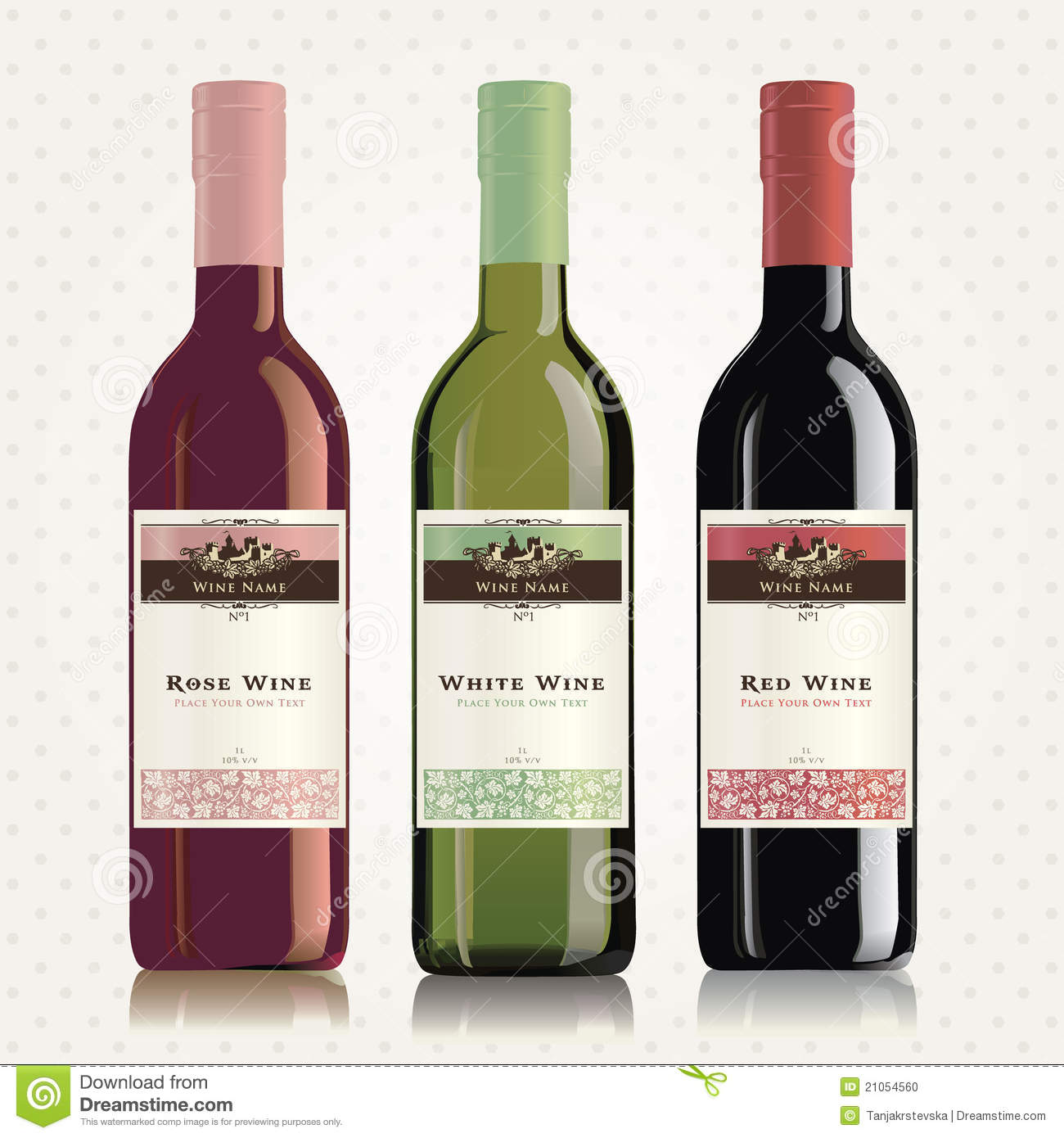 Red White And Rose Wine Labels And Bottles Stock Photo Image 21054560