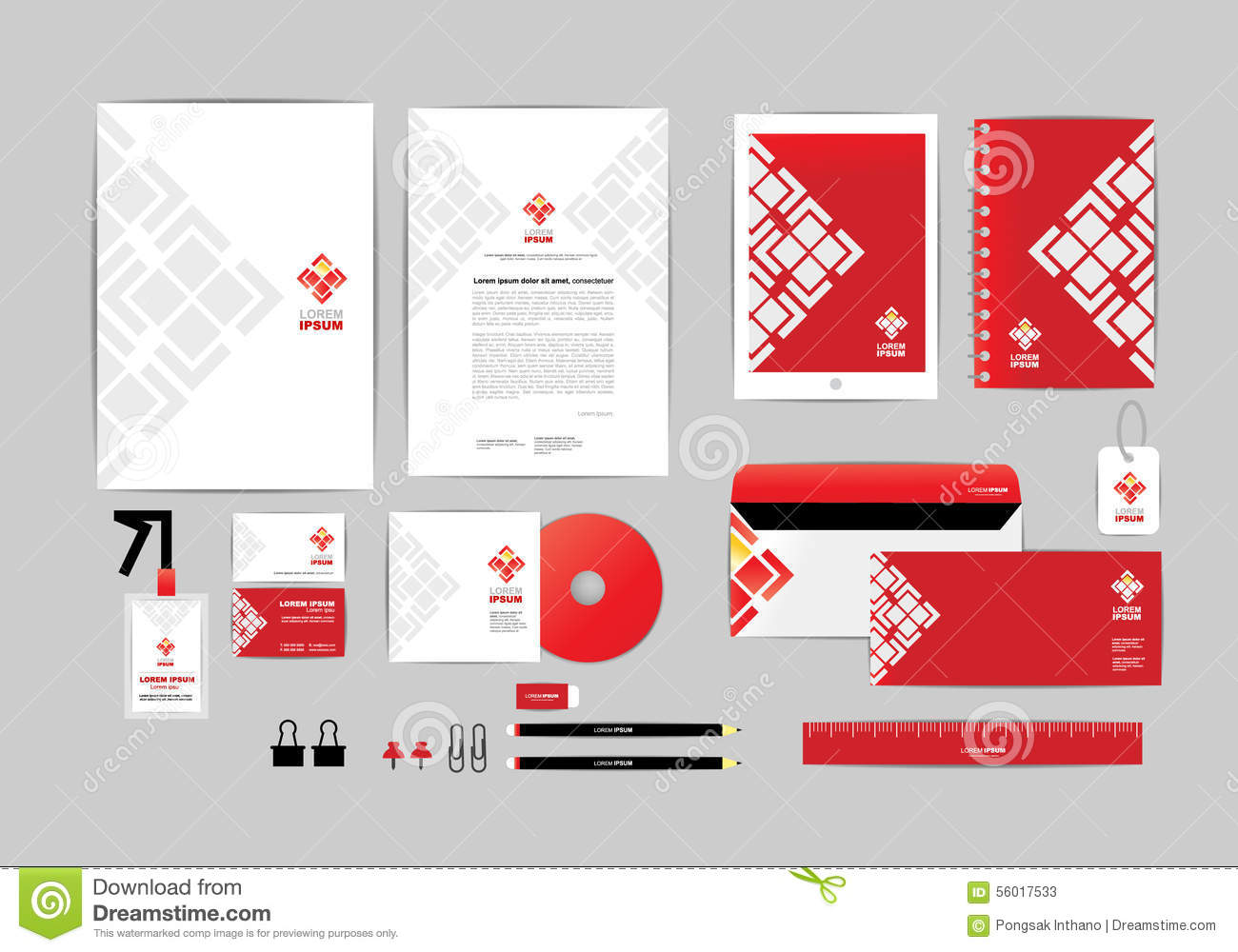 Red And White With Triangle Corporate Identity Template