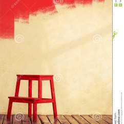 Unusual Wooden Chair Hanging Leaf Red Stock Image Of Concrete 34992457