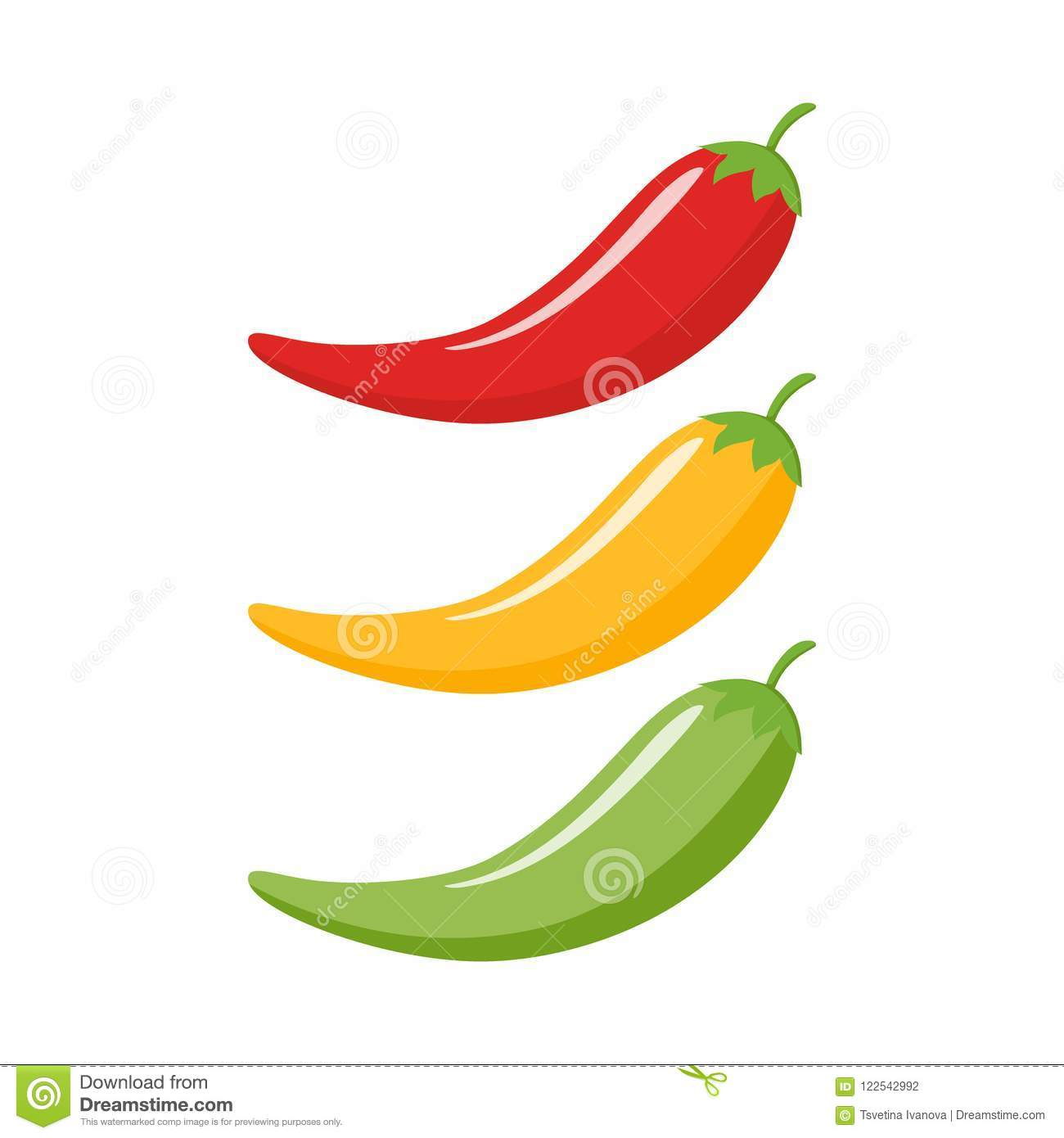 hight resolution of red yellow green chilli peppers cartoon
