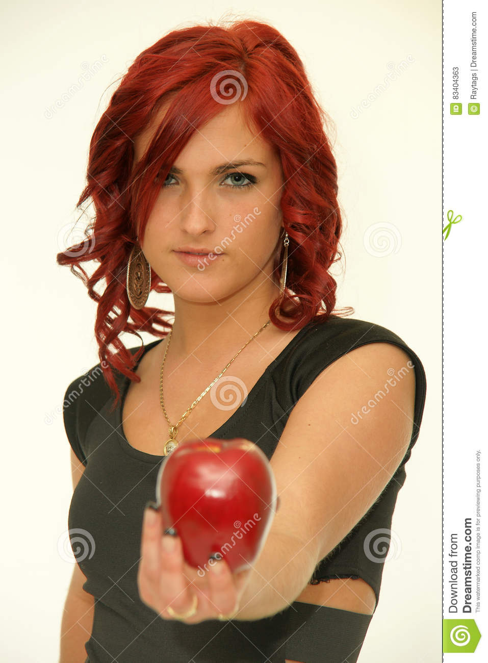 Redhead Beauty With Red Apple Stock Image Image Of Glamor