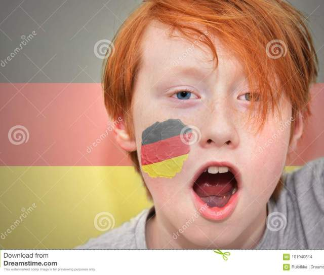 Redhead Fan Boy With German Flag Painted On His Face