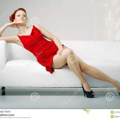 Red Couch Living Room Photos Design Curtains Redhead Woman In A Dress On White Stock Image ...