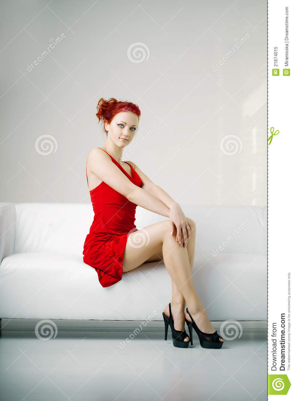 modern sofa plans free rowe sectional sofas redhead woman in a red dress on white couch royalty ...