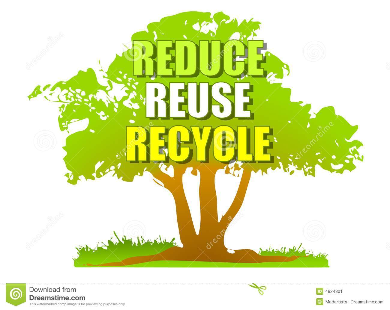 Reduce Reuse Recycle Green Tree Stock Image