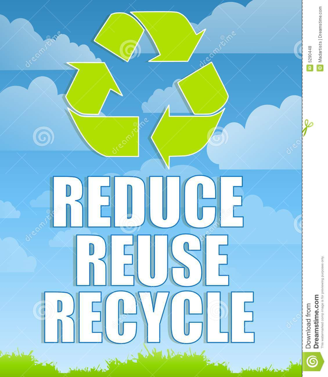 Reduce Reuse Recycle Sign 2 Stock Illustration