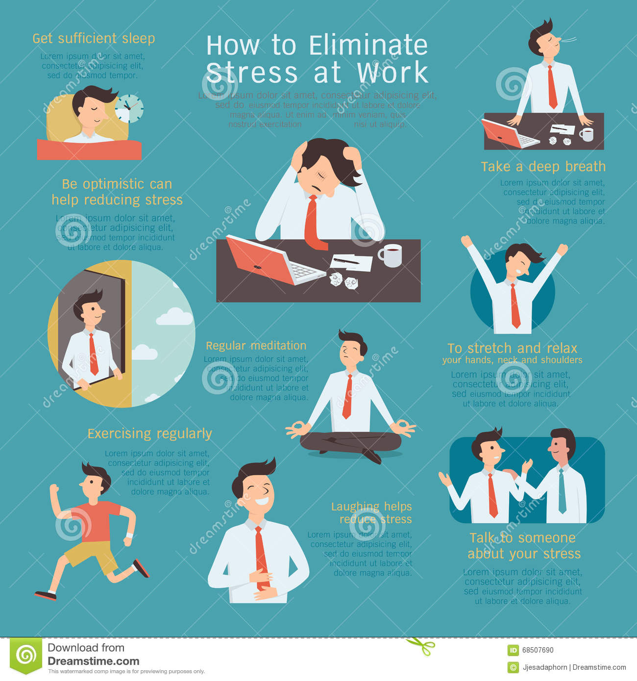 Reducing Stress Stock Vector Illustration Of Management