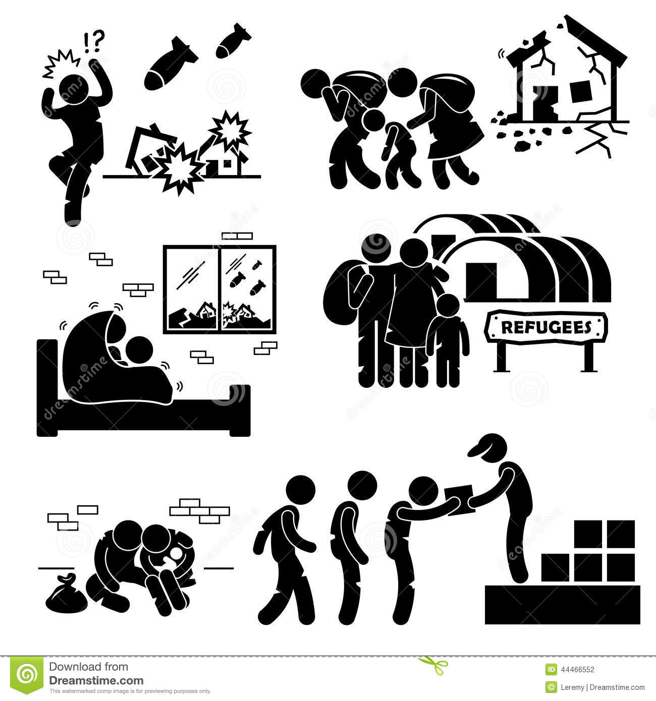 Refugees Evacuee War Cliparts Stock Vector