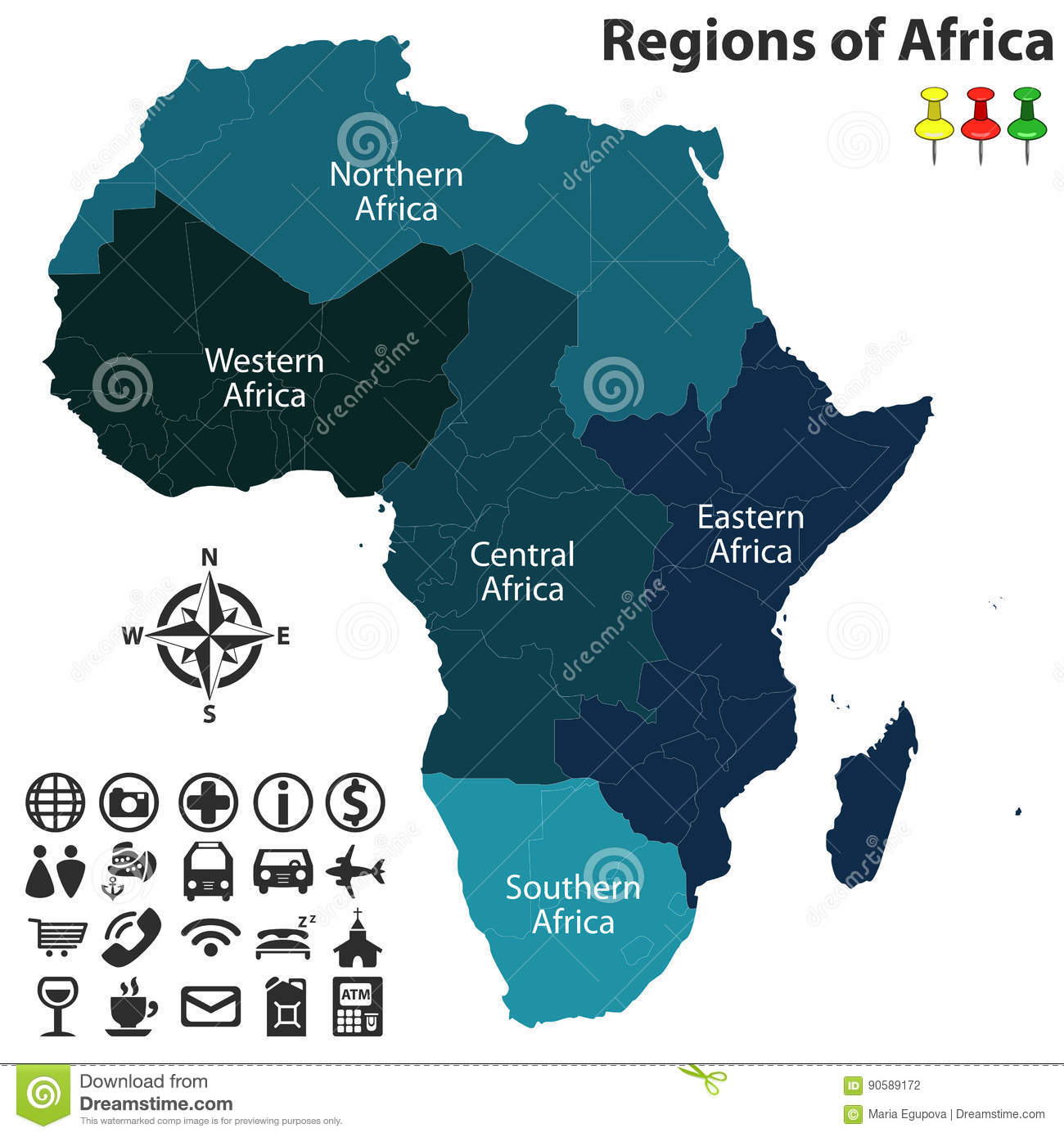 Regions Of Africa Stock Vector Illustration Of Central
