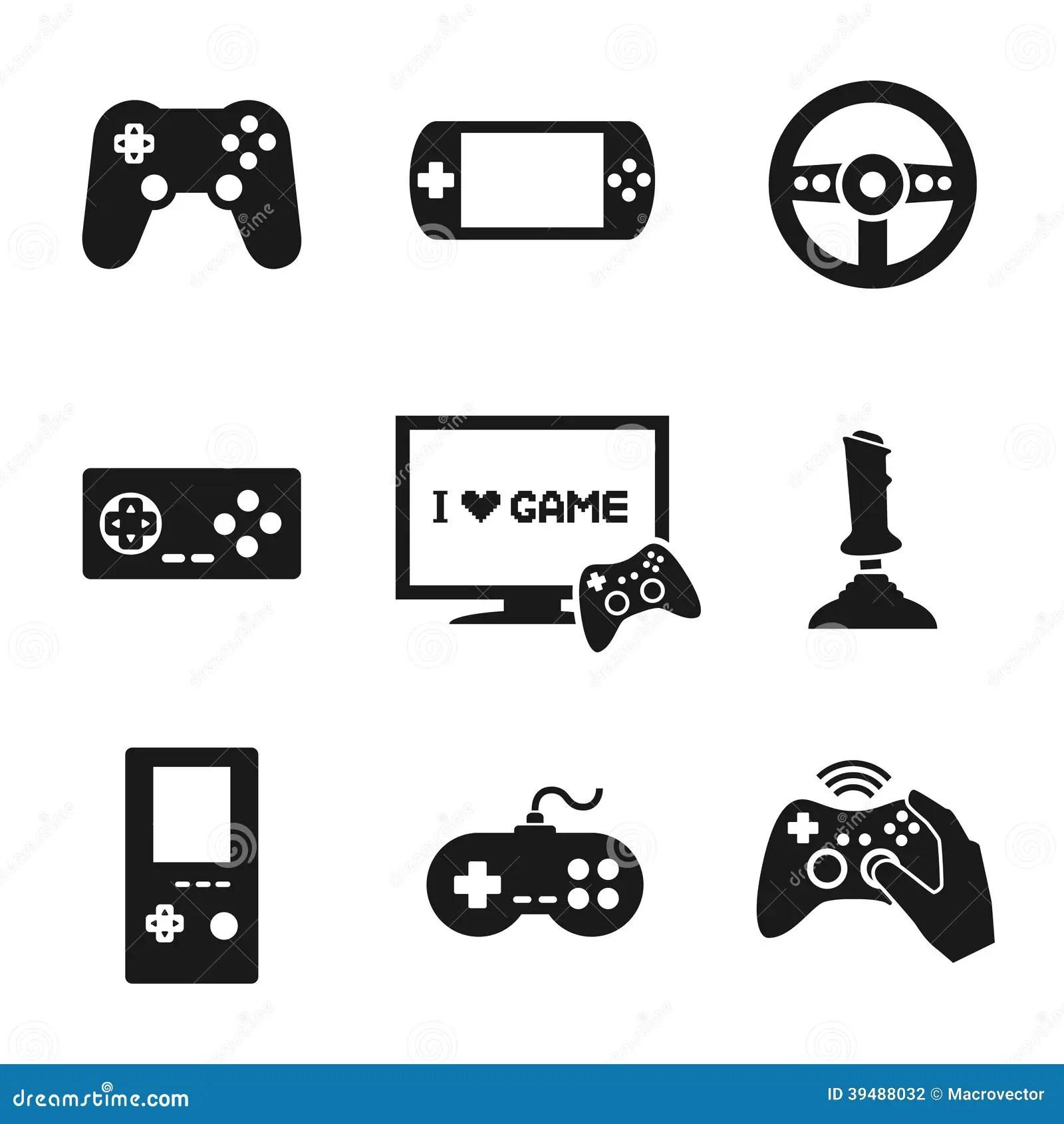 Regulador Icons Set De Los Videojuegos Ilustracion Del