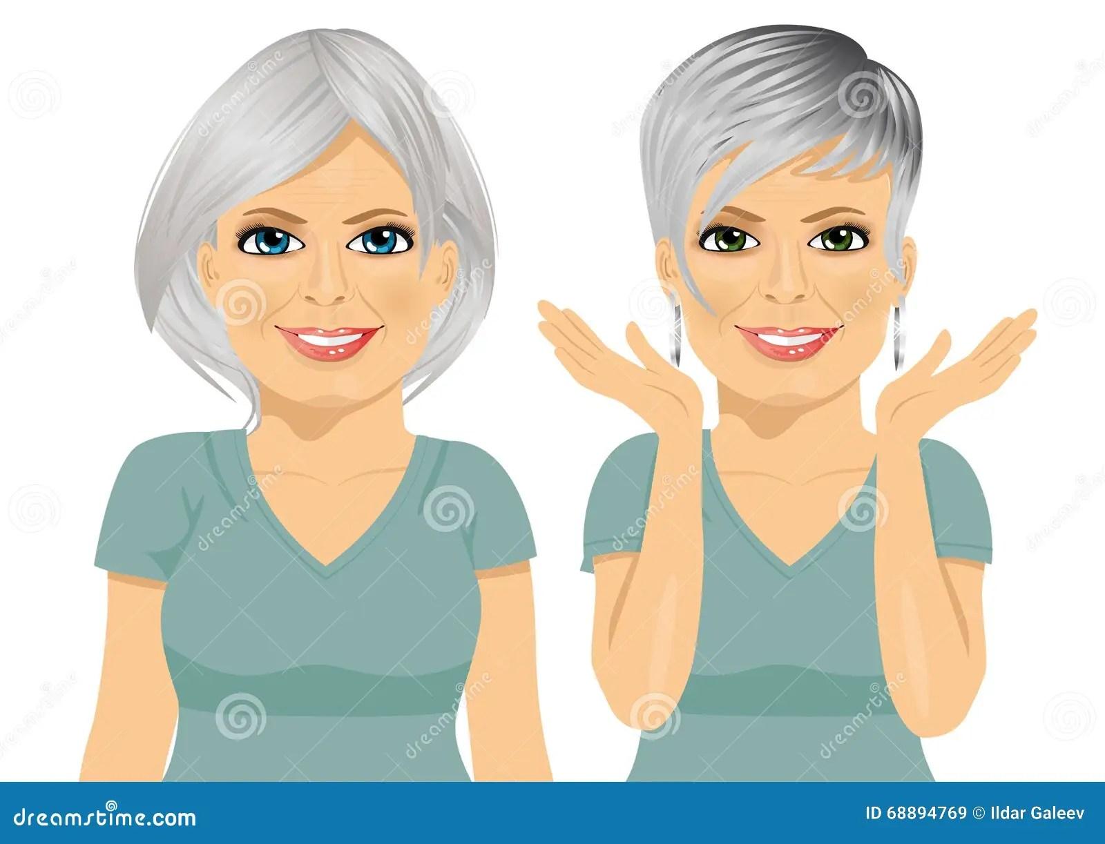 Reife Frau Mit Verschiedenen Frisuren Vektor Abbildung Bild