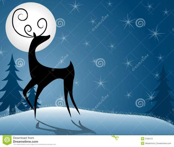 Reindeer Deer Standing In Moonlight Stock Illustration - Of Holiday