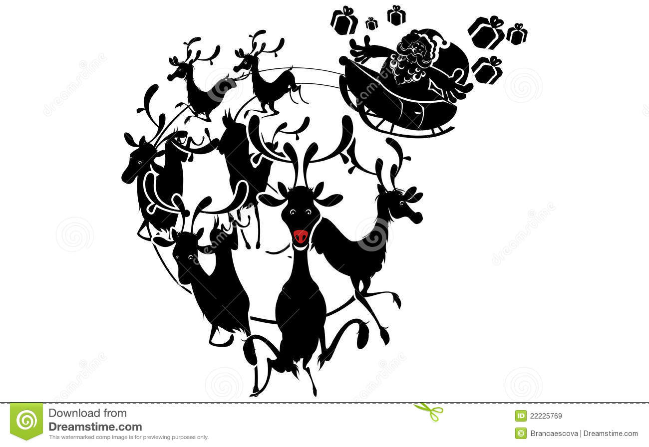 Reindeer Silhouette And Santa Claus Christmas Stock Vector
