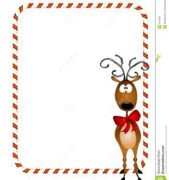 a bacckground illustration featuring a reindeer wearing a red bow with candy cane border or frame [ 1112 x 1300 Pixel ]