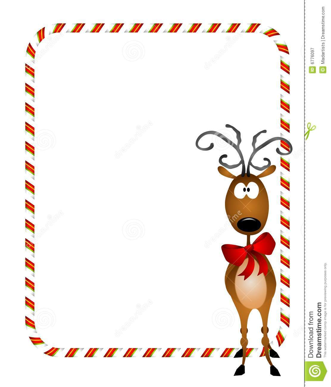hight resolution of a bacckground illustration featuring a reindeer wearing a red bow with candy cane border or frame