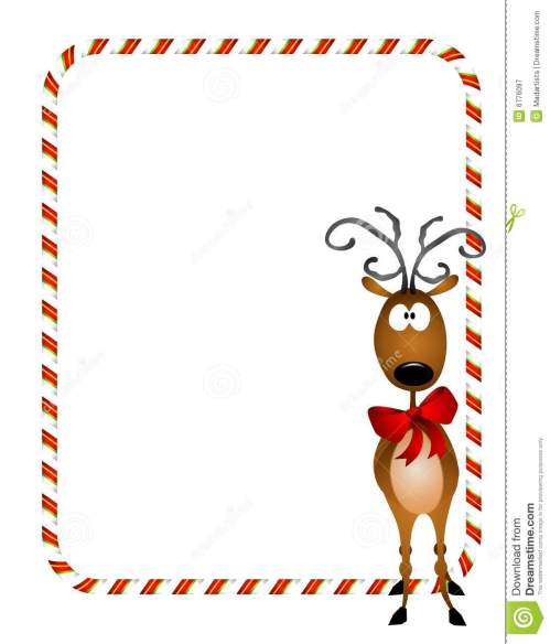 small resolution of a bacckground illustration featuring a reindeer wearing a red bow with candy cane border or frame