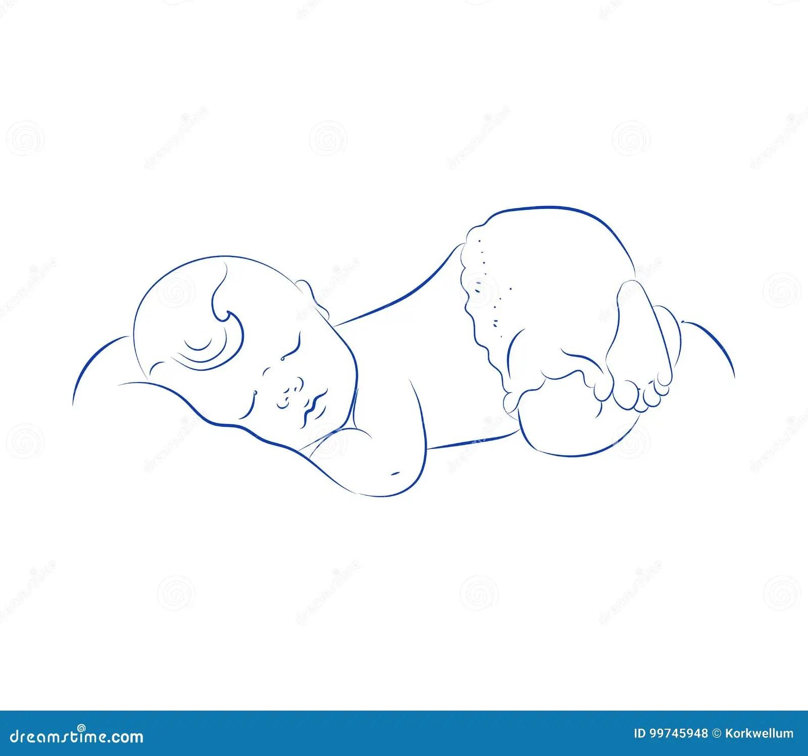 Reizender Neugeborener Schlafenvektor Nettes Kleines