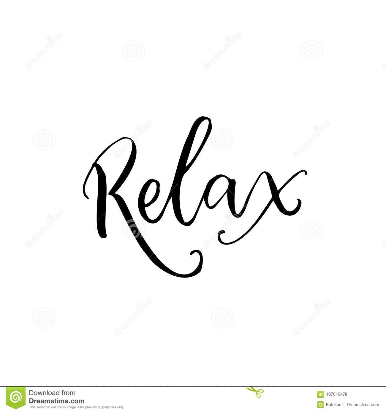 Relax Black Calligraphy Word Isolated On White Background