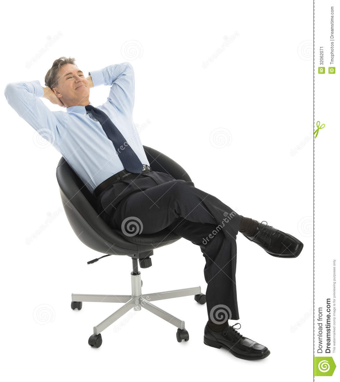 sitting chair chairs for showers invalids relaxed businessman with hands behind head on