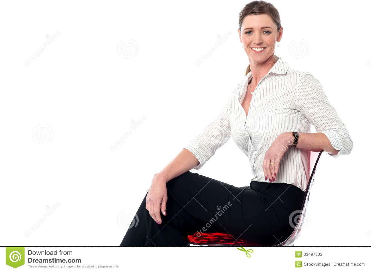 woman sitting in chair outdoor with canopy relaxed smiling corporate lady stock photos image 33497333