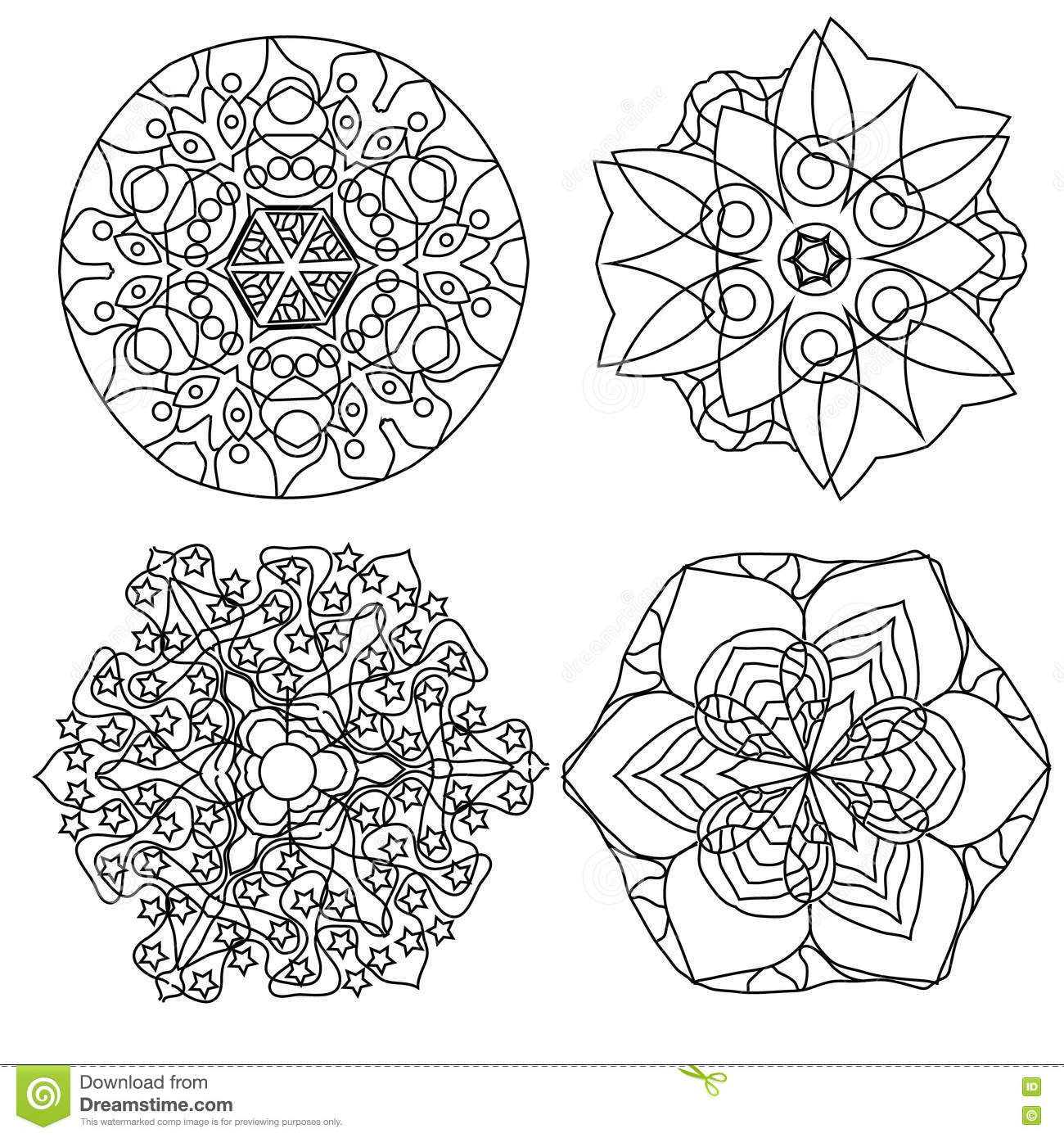 Relaxing Coloring Page With Mandala, Abstract Flowers For
