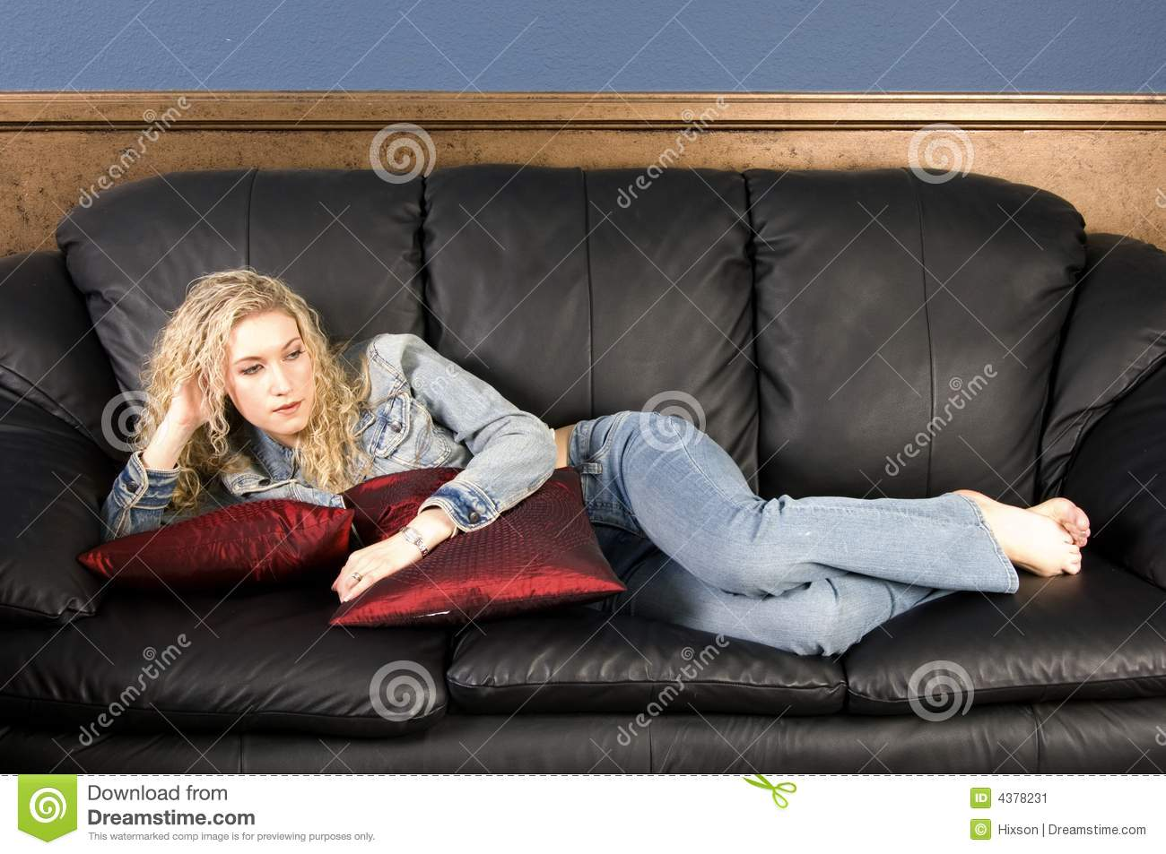 leather sofa couch ikea bed relaxing on stock image - image: 4378231