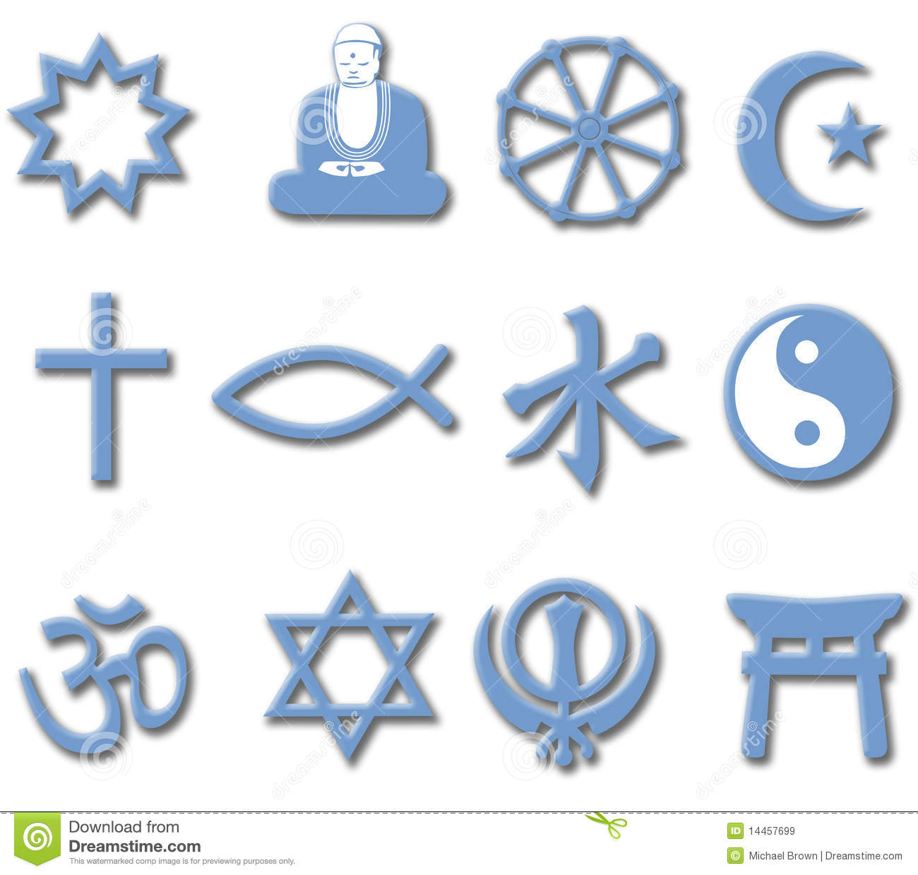 Religion Symbol Set 3d Major World Religions Royalty Free