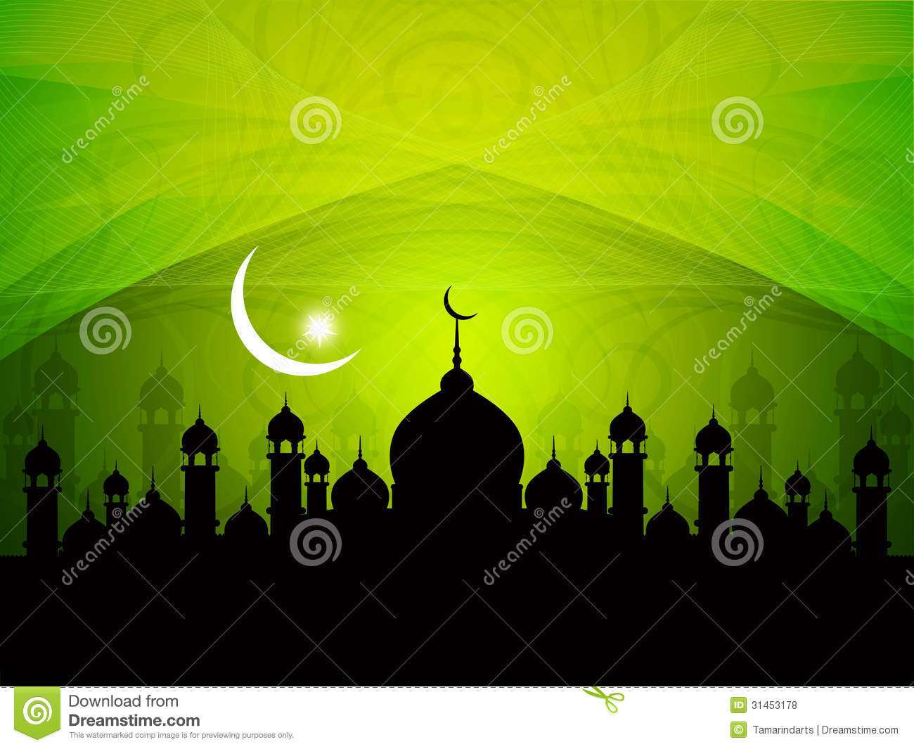 Religious Eid Background Design With Mosque Royalty Free