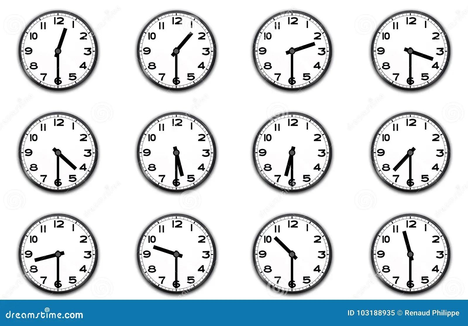 Relojes Que Indican La Media Hora Stock De Ilustracion