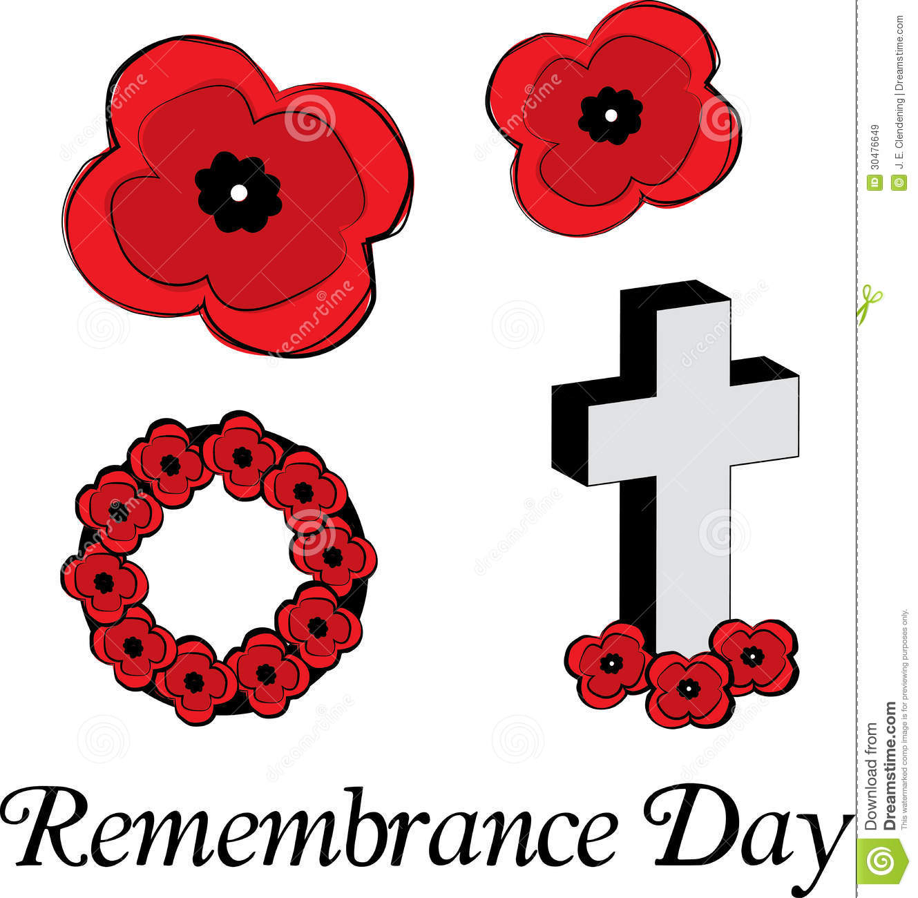 Remembrance Day Poppies Stock Vector Illustration Of