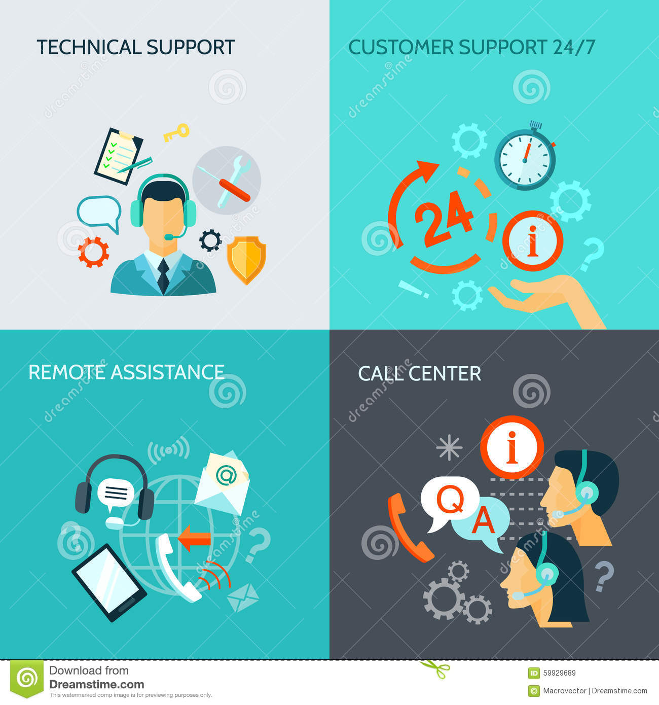 Remote Assistance And Technical Support Banners Stock Vector  Illustration of icons elements