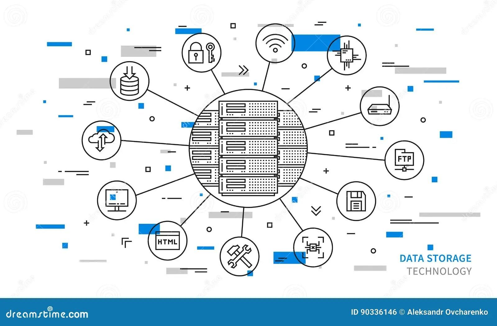Remote Server Equipment Line Art Creative Concept Stock