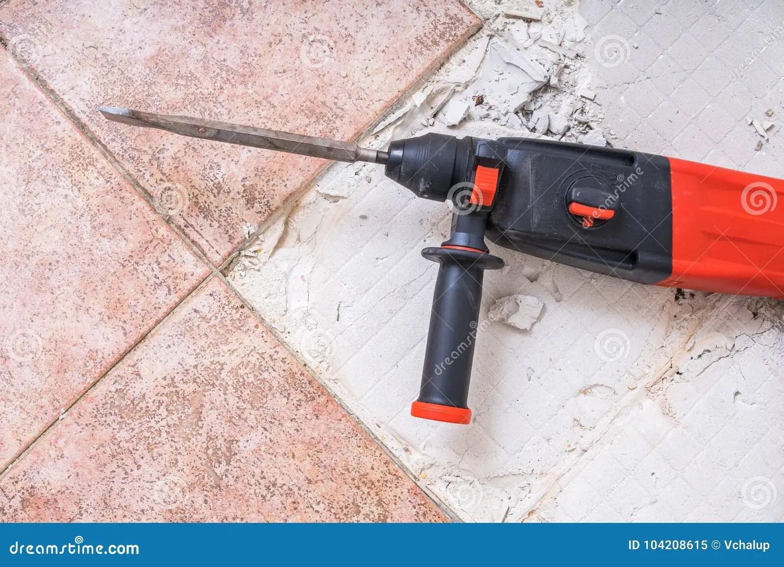 https www dreamstime com removing old tiles jackhammer drilling demolition hammer floor image104208615