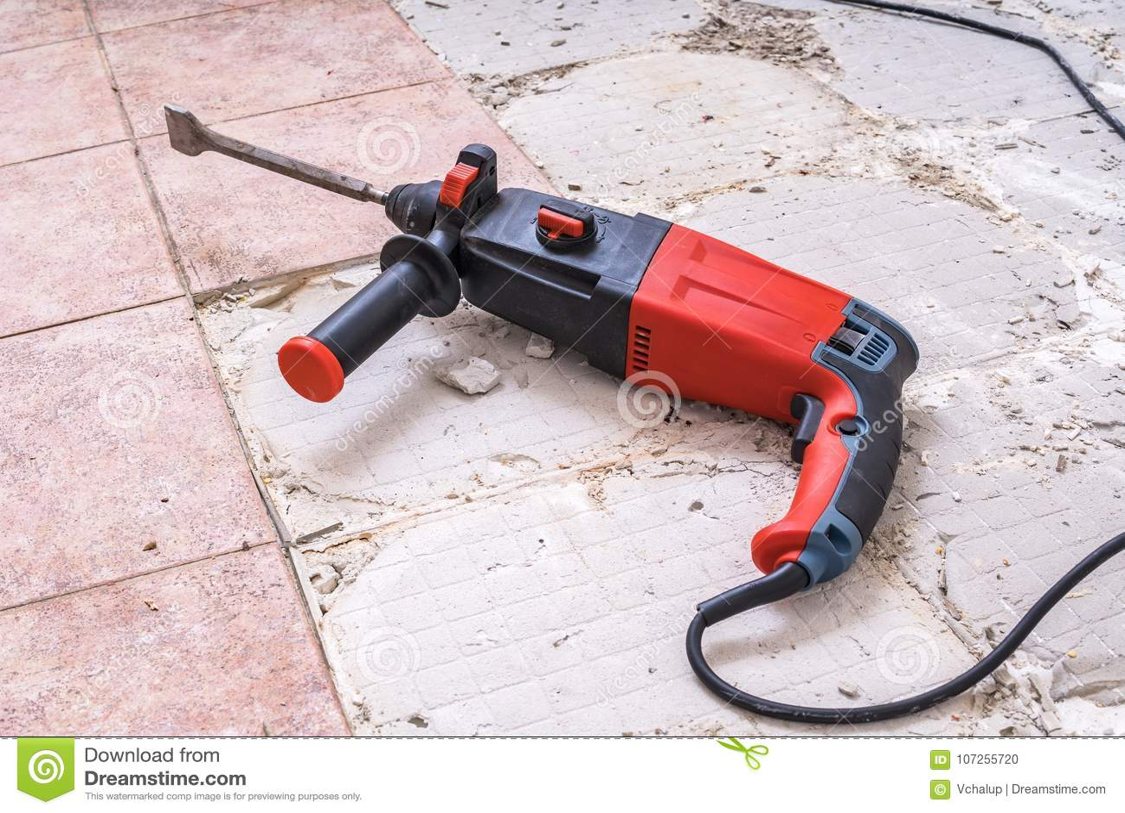 https www dreamstime com removing old tiles jackhammer drilling demolition hammer floor removing old tiles jackhammer drilling demolition hammer image107255720