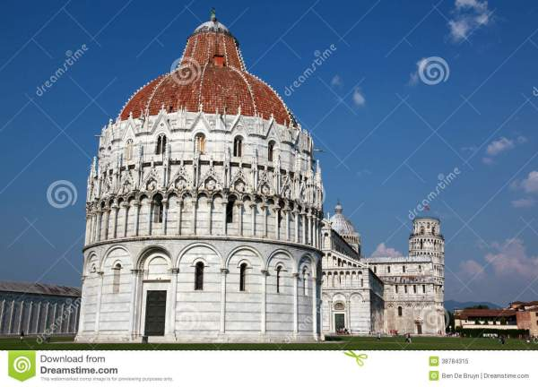 Renaissance Buildings And Leaning Tower Of Pisa Stock