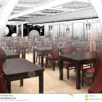 Render Black And White Sketch Of The Chinese Restaurant Interior Design Stock Illustration Illustration Of Drawing Building 110698131