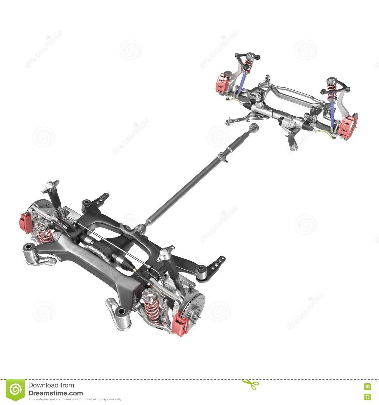 Render Of Car Chassis Without Engine Isolated On White 3d