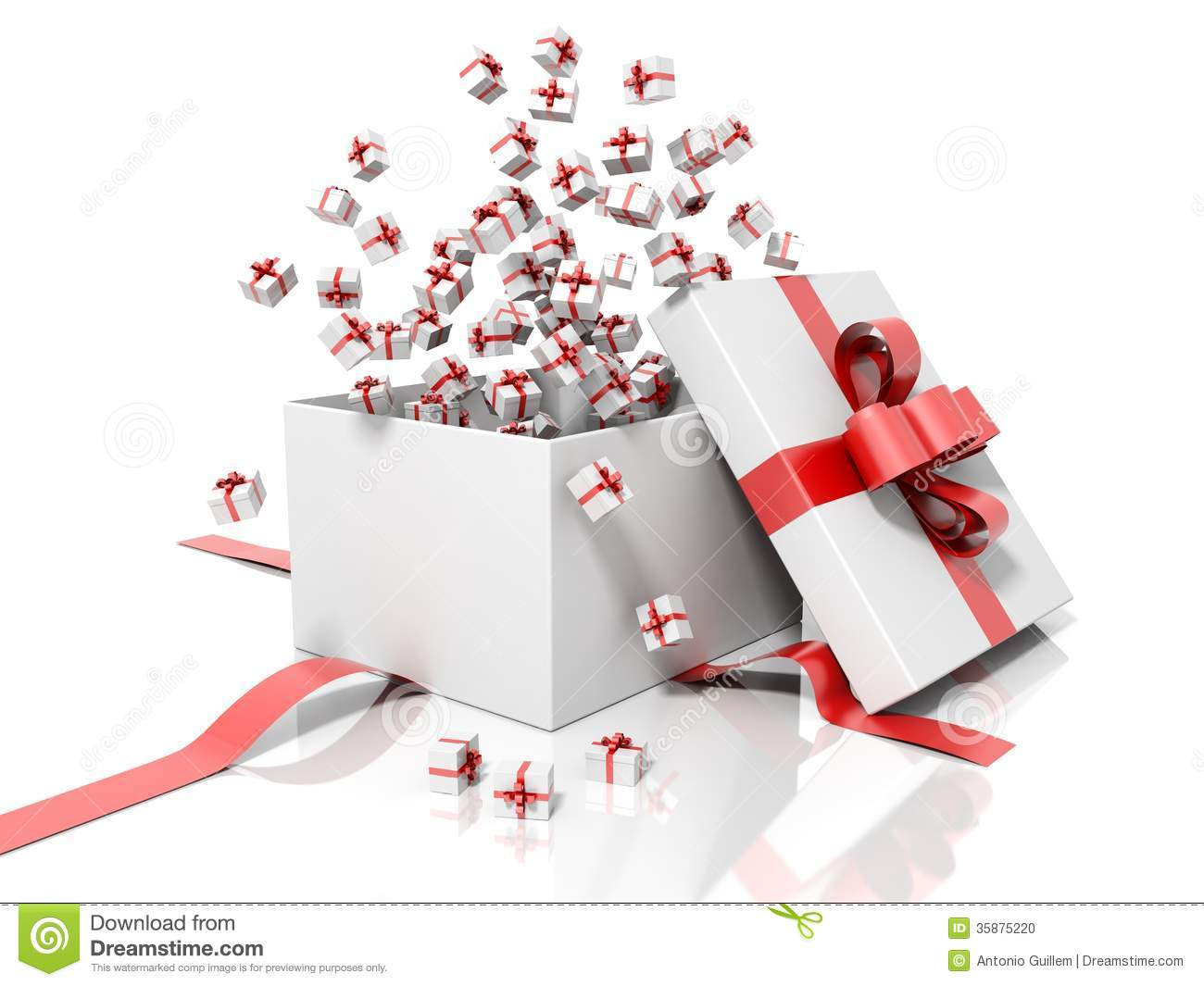 Render Of A White Gift Box With A Red Ribbon Throwing