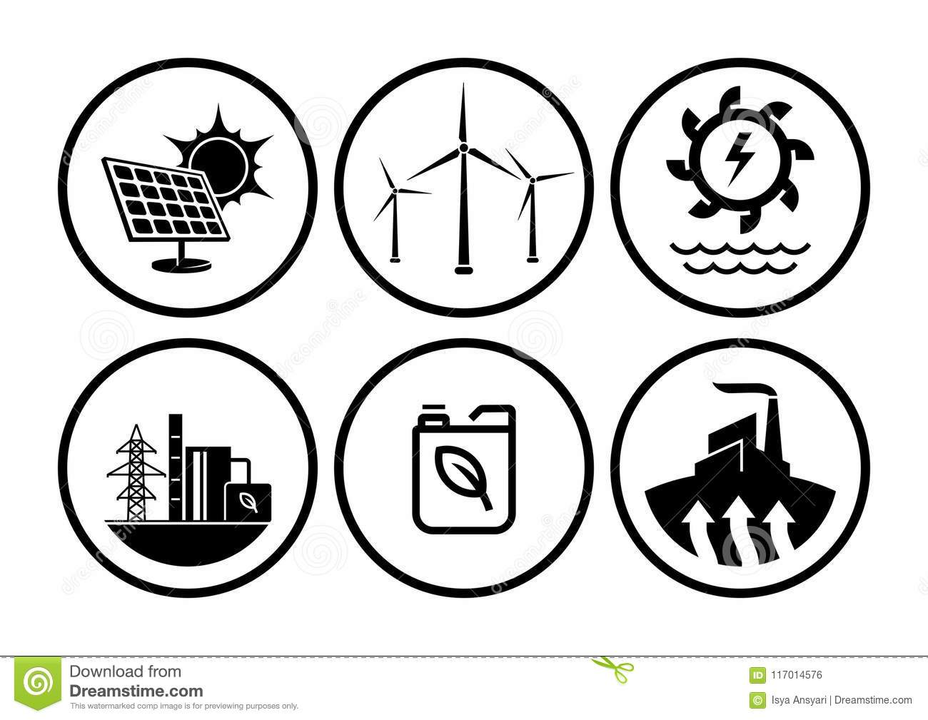 Power Plant Icons Vector Set Stock Vector