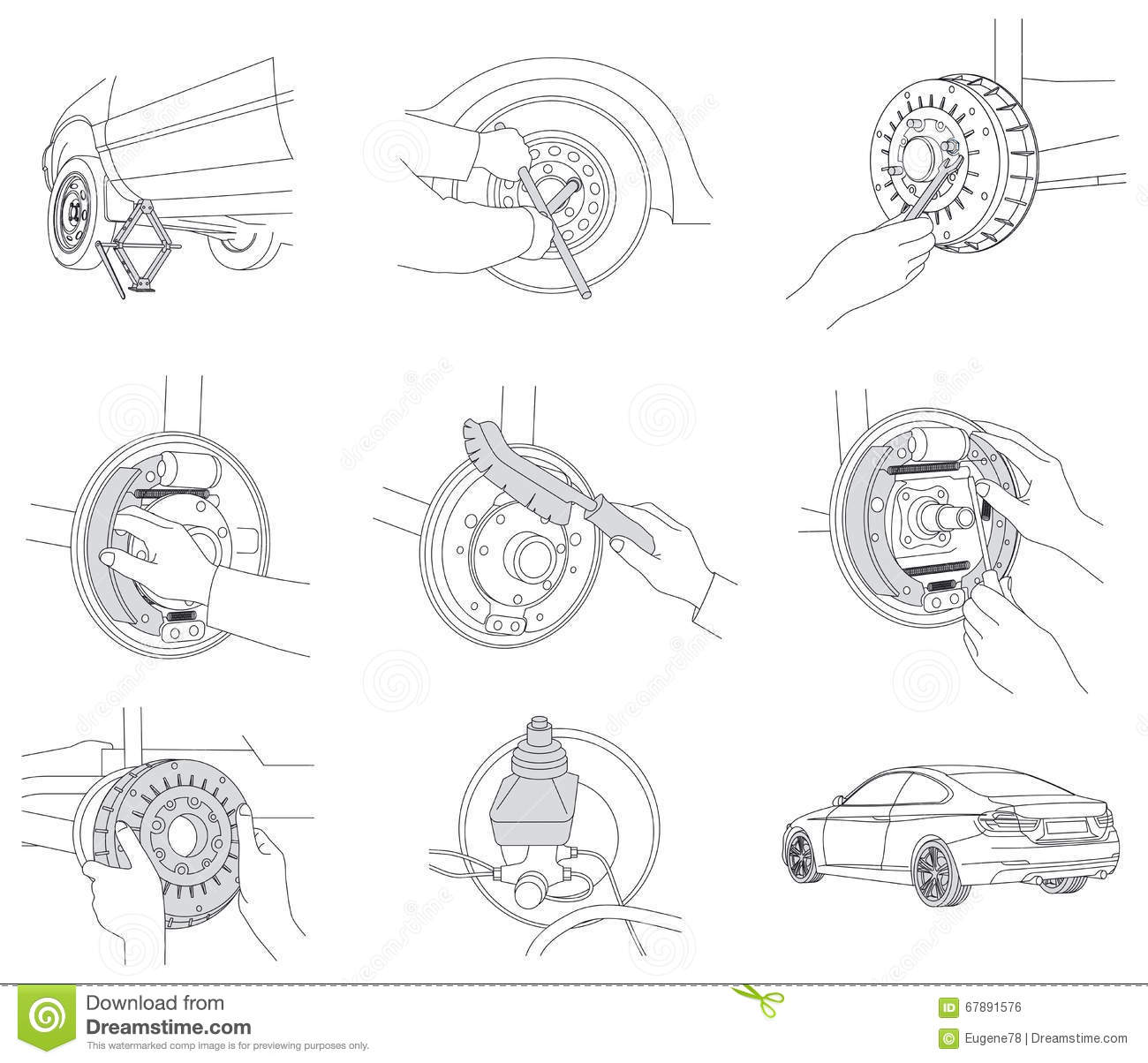 Repair And Change Braking On Car Stock Vector