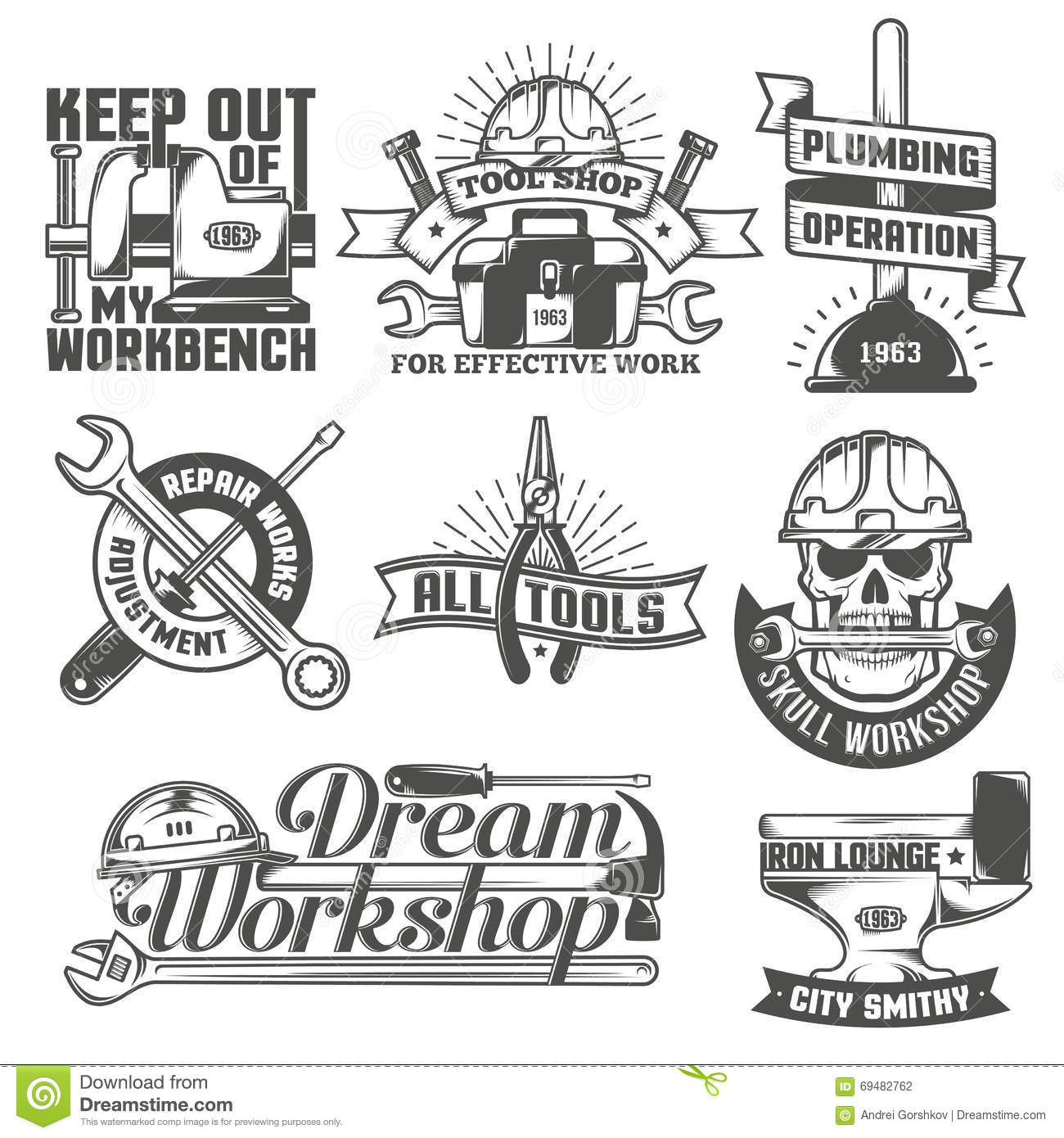 Repair Workshop Logos Stock Vector Illustration Of Poster