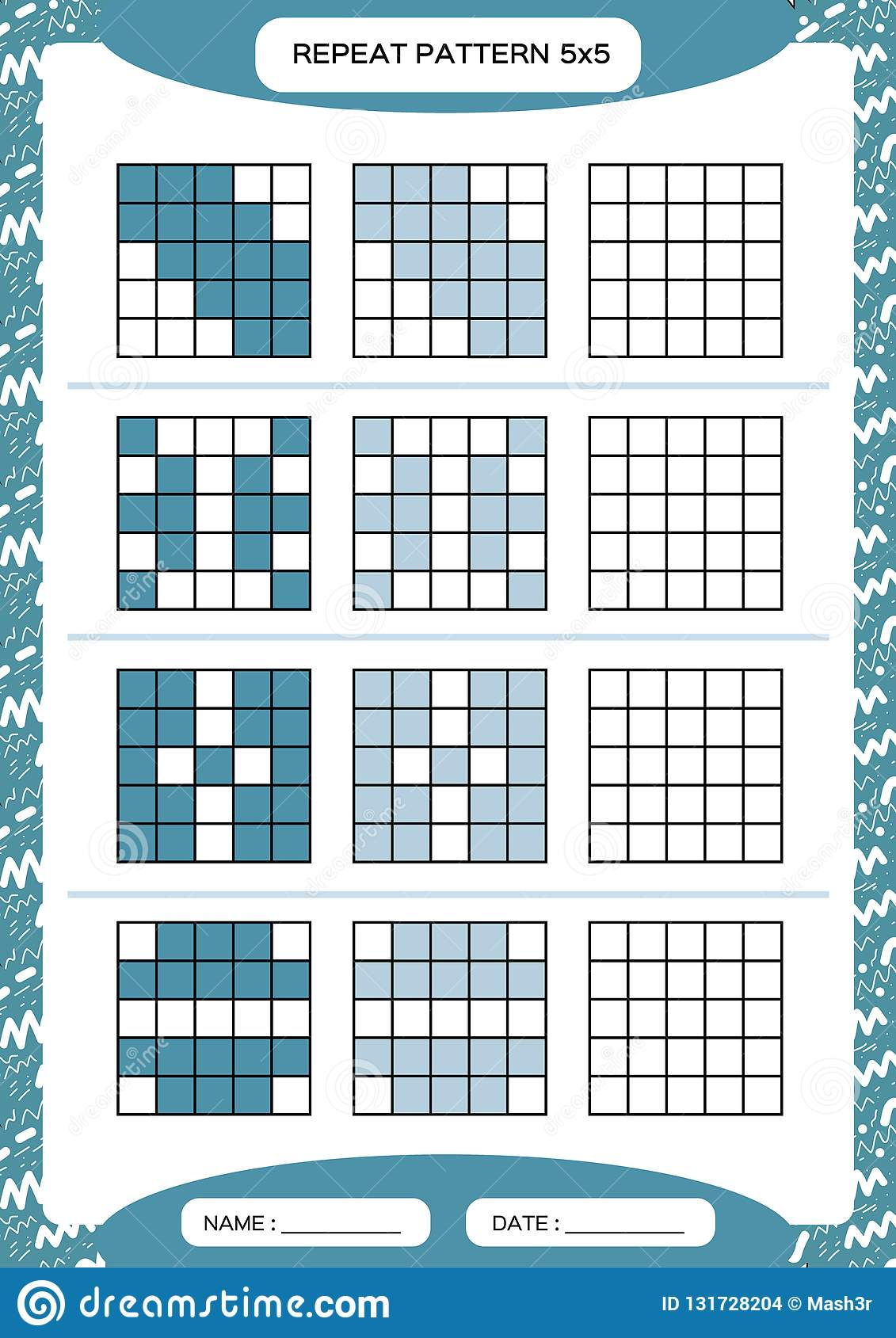Repeat Blue Pattern Cube Grid With Squares Special For