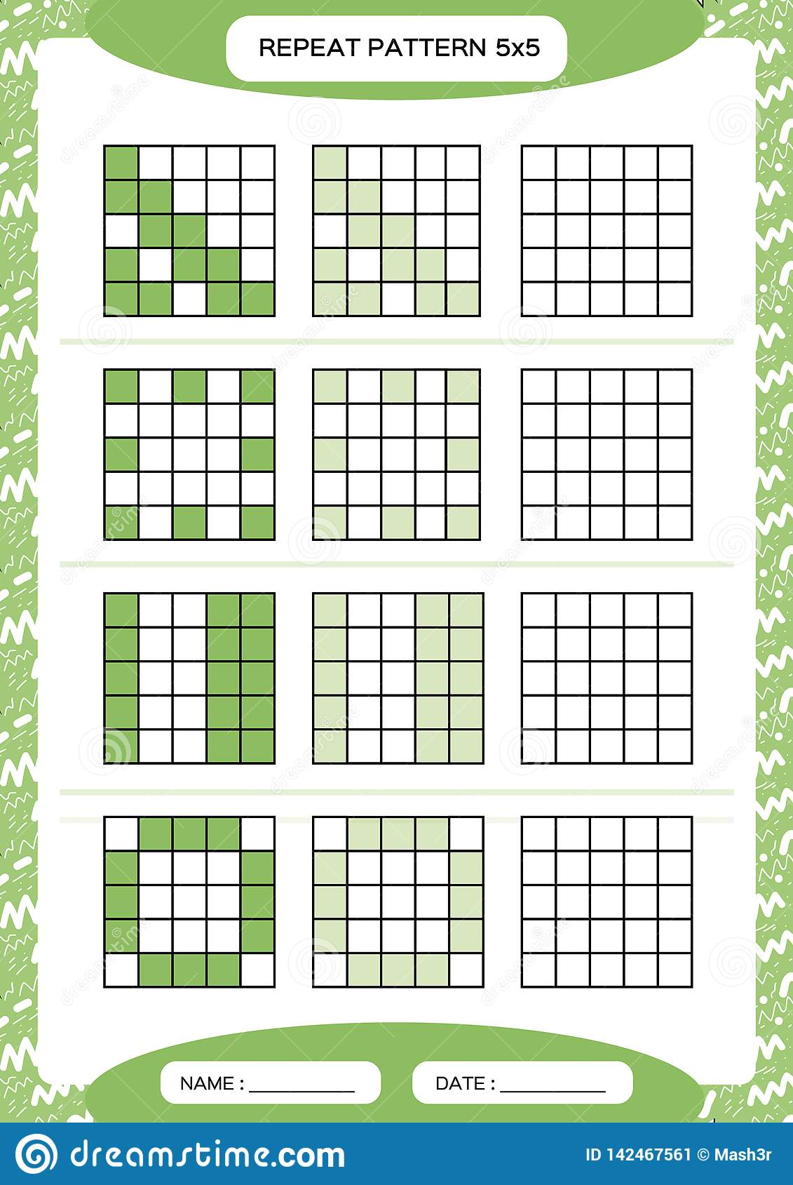 Repeat Green Pattern Cube Grid With Squares Special For