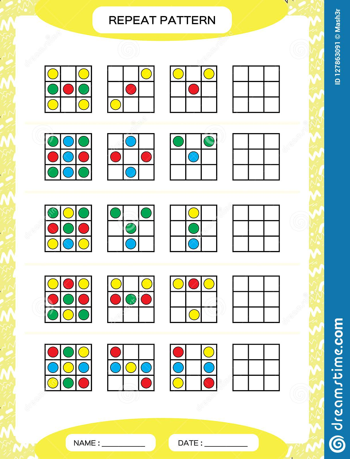 Repeat Pattern Square With Colorfull Circles Special For