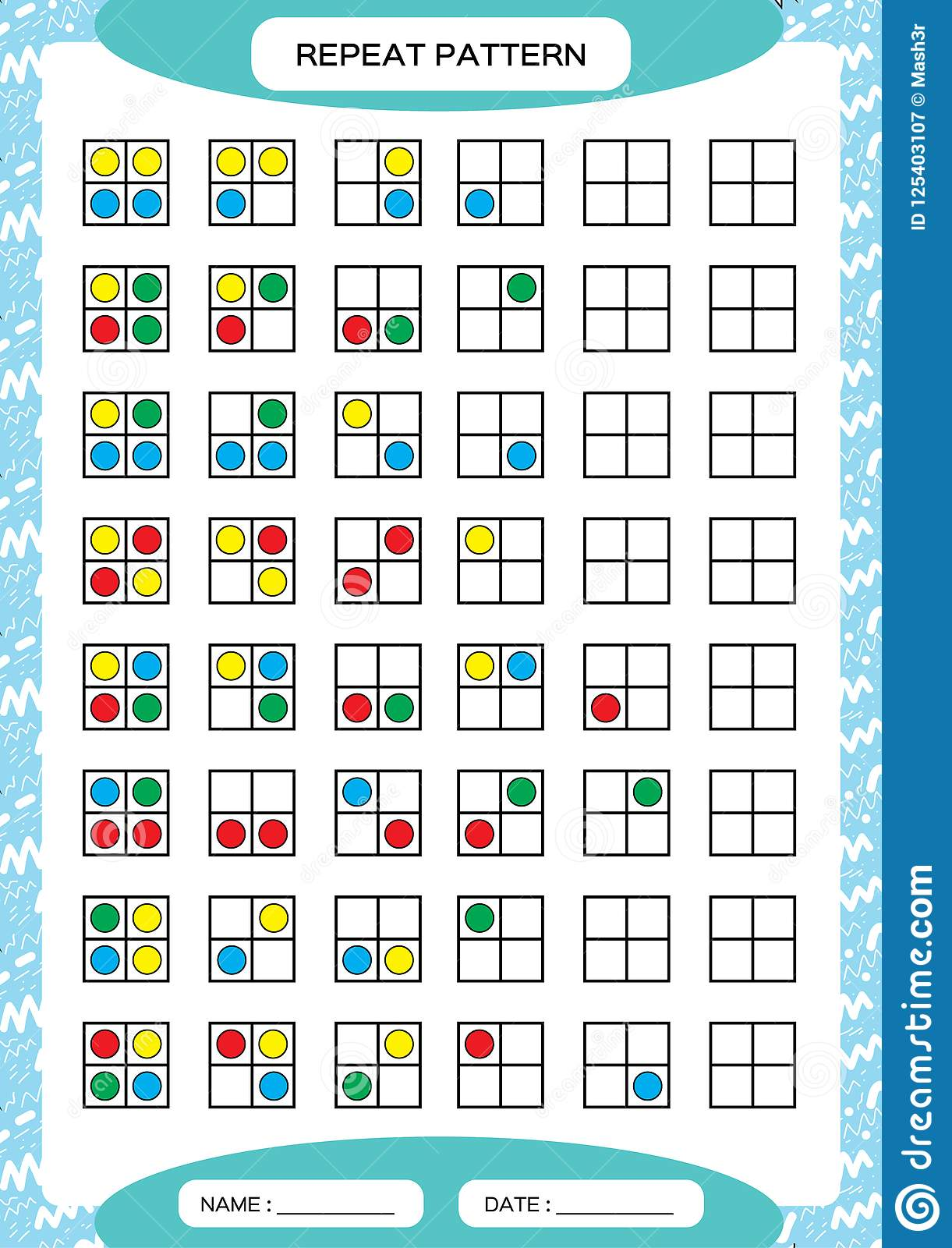 Repeat Pattern Square Grid With Colorfull Circles