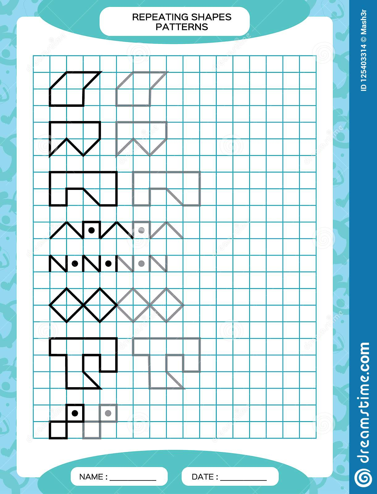 Repeat Pattern Tracing Lines Activity Special For Preschool Kids Worksheet For Practicing